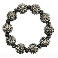fashion 14mm stretch shamballa rhinestone bracelet HEMATITE COLOR