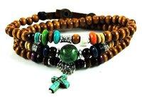 M017-free shipping(10 pcs per lot)!Wholesale & retail 2012 China handmade turquoise cross bracelet