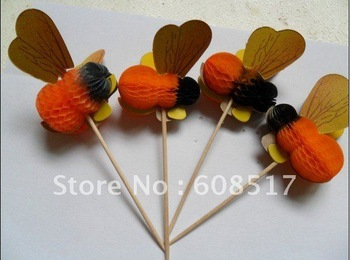 Free shipping hands-only paper flower, 3D honeybee Fruit Picks,/honeycomb animal