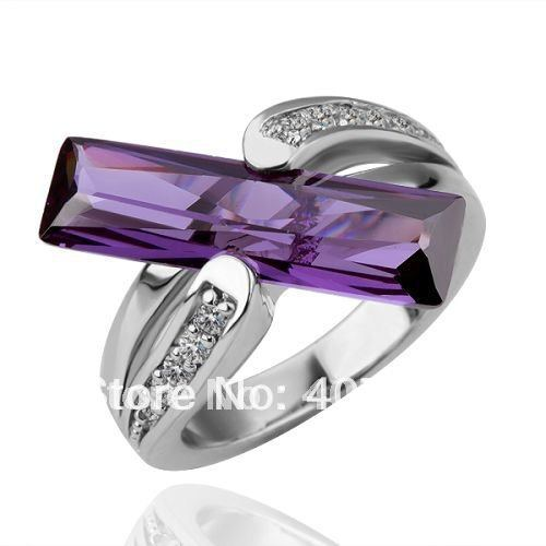 R100 wholesale fashion 18k gold plated jewelry purple long crystal ring wedding jewellery allerggy free free shipping(China (Mainland))