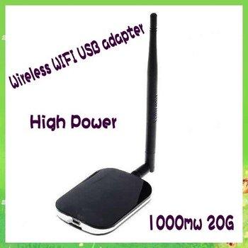 FREE SHIPPING! High Gain Wireless USB Adapter 20G 1000mW Directional High-power Wireless Adapter 7dBi Wifi 802.11b/g