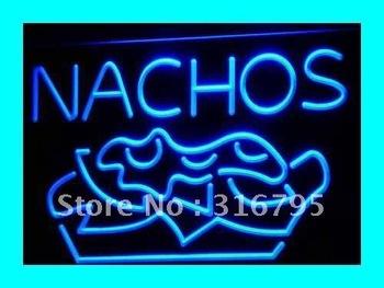 i314-b NACHOS Mexican Food OPEN Bar Pub Neon Light Sign