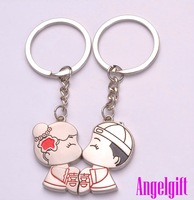 Lovers'! 10pairs/lot cute couple key chains for lovers' Alloy keychain free shipping Kc047