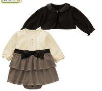 Black three piece set with bow baby  dress