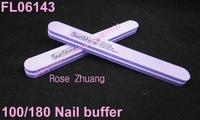 Freeshipping-100/180 double side purple round nail file buffer washable manicure tool wholesales SKU:G0012
