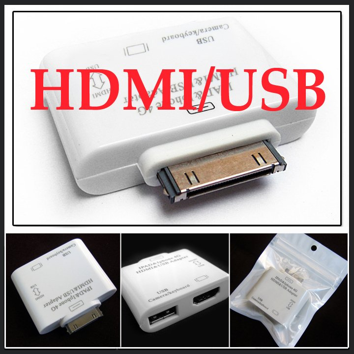 HDMI Transmit Adapter Video Converter USB Camera Connector Kit for iPad 2 ,iPad2, iPhone 4, iTouch, ipod- wholesale 13 pcs/lot(China (Mainland))