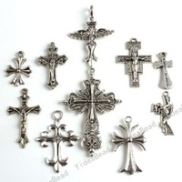 New Mixed Assorted Cross Tibetan Silver Pandent Metal Charms Pendants Alloy Pendants In Stock 40pcs 140524
