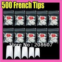 Fast & Free Shipping Wholesale & Retail 500 pcs Nail Art Gear French Fake Nail Tips