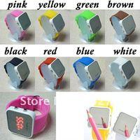 10pcs/lot Brand New!Mirror LED Digital Date Sport Wrist Watch Fashion led watch freeshipping