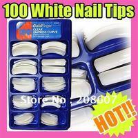 Freeshipping Nail Art Artificial Nail 100 False Nail Tips Half Cover Fake Nails White Nail Tip Fake Nails for Nail Art Exercise