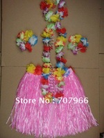 5 set  HAWAIIAN SET GRASS SKIRT, FLOWER BRA, LEIS, FANCY DRESS 80cm grass skirts adult Beautiful dance skirt