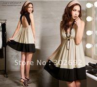 2011 best selling  deep V collar sleeveless backless lady dress,women dress FREE SHIPPING