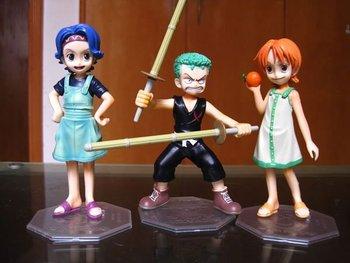 Free shipping One Piece Childhood Figure Set 3pcs Zoro Nami Lily