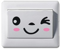 South Korea household wall sticker wallpaper /post naughty notebook stick/ cup smiling face switch stick