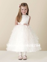 FS-110727f051 New Arrival White Sleeveless A-line Flower Girl Dress