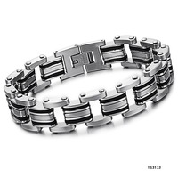(min order 10$) Fashion Jewelry Stainless Steel Bracelet Black Chain Men Cuff Friendship Bracelet 3133