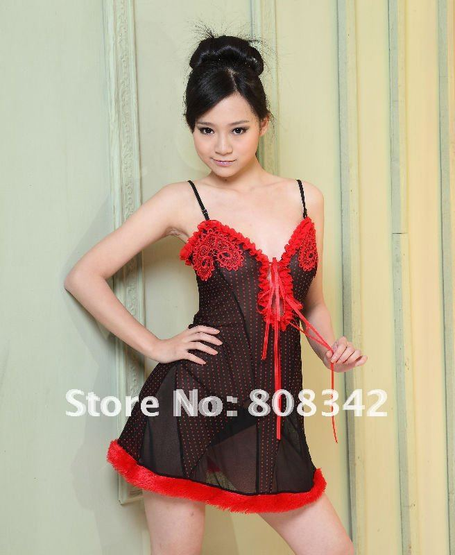 Free Shipping Lady Babydoll Sexy Lingerie Dress with G-string Intimate Nightwear Hot Sleepwear Dress Black and White Color N51