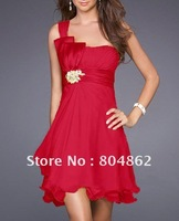 ladies party dresses red one shoulder with rhinestone,chiffon bridesmaid dress,1pc wholesale+free shipping