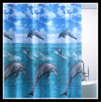 "AL-37 71*71""  Lovely blue sea dolphin dancing bathroom shower curtain ,holiday kids gift"