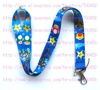 Wholesale - Lots of 100pcs Blue Mario Lanyard for MP3/4 cell phone DS lite free shipping