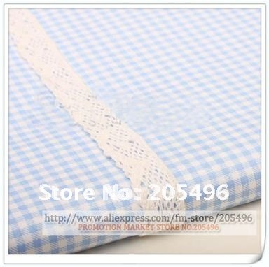 Classic Lattice cotton lace textile fabrics Cloth blue for Dress Clothing material Yard Free shipping + wholesale(China (Mainland))