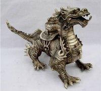 Rare old Huge Tibetan Silver luck Dragon Statue Free shipping