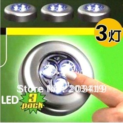 Wholesale Novelty Items best selling 3 LED light touch lamp Tap night car magic emergency(China (Mainland))