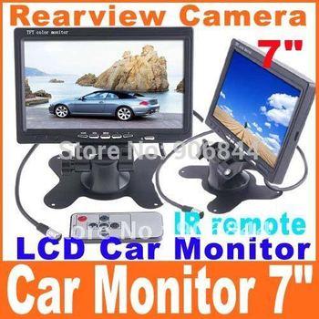 "7"" Color TFT LCD Car Rearview Camera Monitor DVD VCR Car camera video free shipping"