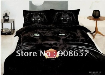 100% cotton brand new black panther animal printing queen bedding comforter quilt/duvet covers sets 4pc