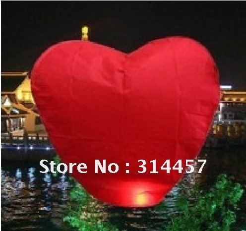 Wholesale 30 pieces/Lot Red Love Heart Sky Lanterns Free Shipping(China (Mainland))