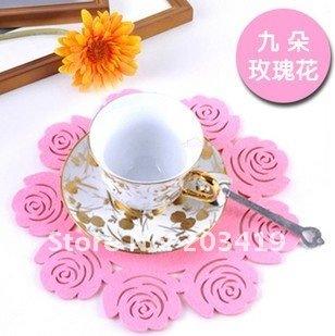 creative beautiful flower bowl pad hair felt cup mat heat protection tablemat nine rose cup pad CN post