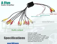 Free shipping! RCA Audio Signal Splitter Amplifier distribute 5 Output FACTORY promotion Wholesale retail