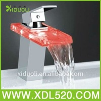 xiduoli gorgeous promotion brass Chrome Plated polishing water power Red/Blue/green 3 Colors led faucet light without battery
