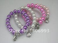 5.5cm 5pcs/lot fashion mix colours pearl plastic beading bracelet bead bracelets charm bracelet diy CZ-9010