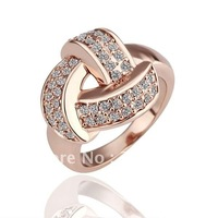 Wholesale HIGH QUALITY 18K Rose Gold plated   ring  with  rhinestone 2011 newly  Fashion ring /wholesale fashion