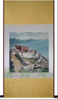 China Tibetan characteristics 139*72 landscape painting of the potala palace,silk material,hot sale,New Arrival,Free shipping