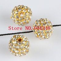 10MM / 12MM Clear Crystal Disco Balls Loose Spacer Beads, Golden Pave Shamballa Rhinestone Metal Beads Findings, Pick Your Size