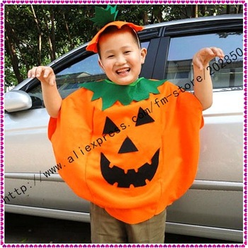 Free shipping  Pumpkin costume with hat for Child,newest halloween product in 2011, one year quality warranty,best seller