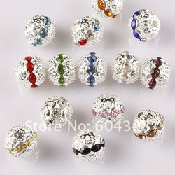 10MM Mixed Color Crystal Rhinestone Spacer Loose Beads, Silver Plated Shamballa Pave Metal Balls, Jewelry Findings-100PCS(China (Mainland))