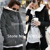 Freeshipping,2014 Korea Women Hoodie Coat Warm Zip Up Outerwear Sweatshirts 2Colors M,L,XL 3301