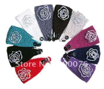 rhinestone flower Handmade headband  Knit Headwrap crochet Headbands headwear new fashion