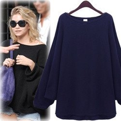 Loose Dolman Kimono Sleeves Sweater Long T-shirt Knitwear Brand Tops Casual Tee T shirts Black Navy Blue Women Autumn Pullover(China (Mainland))