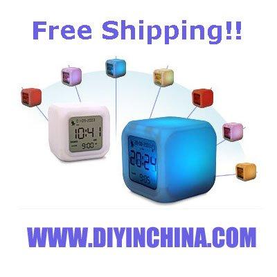 Wholesale 6pcs/lot Glowing Led Color Change Digital Alarm Mood Clock Multifunction Table Clock(China (Mainland))