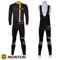 Free shipping!2011 LIVESTRONS team cycling long sleeve jersey+bib pants