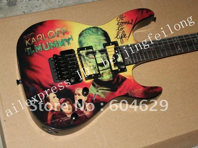 Kirk Hammett Miniature Guitar Collectible Metallica Karloff Mummy(China (Mainland))