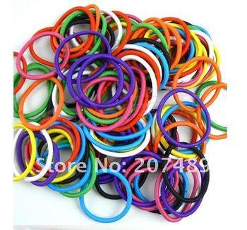 100pcs=1 bag New Candy Color Rope Elastic Girl's Hair Ties Bands Headband hair Strap Hair Band