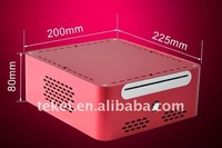 MINI-ITX Chassis for HTPC without Power Supply, Metal Aluminum, mini-itx,dc-atx psu,90w,225x200x80,12v5a adaptor,dvd bay