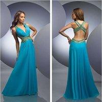 Custom Made 2012 Halter Floor Length Blue Chiffon Blue Formal Evening Prom Dresses