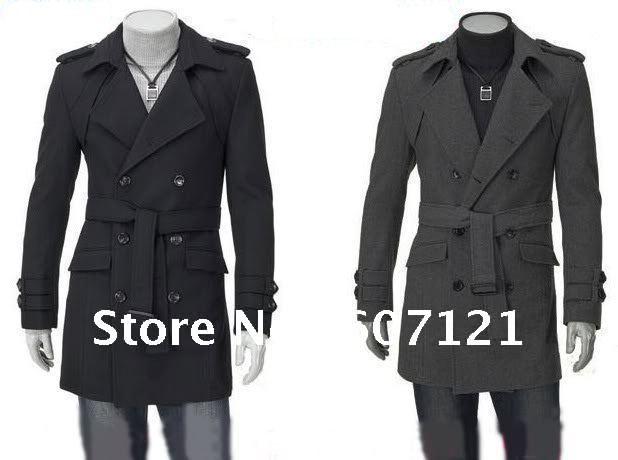 Mens Military Style Long Coat