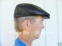 Leather black Newsboy Beret Cabbie beret Gatsby Flat Cap Hat grid
